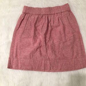 Ann Taylor Loft Pink Chambray Pull On Pocket Skirt